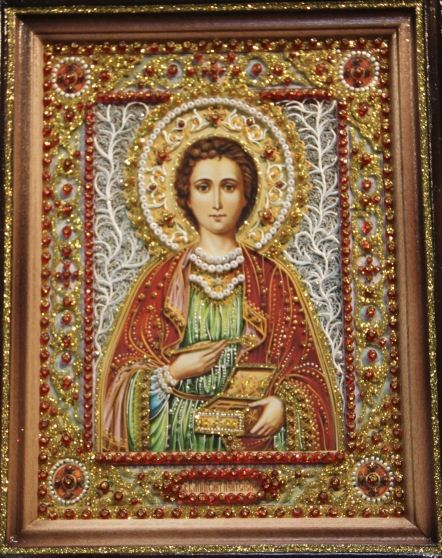 Икона Пантелеймона с янтарем