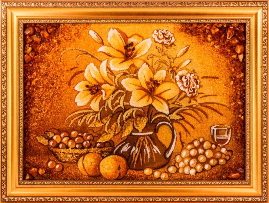 "Картина из янтаря "" Букет"""
