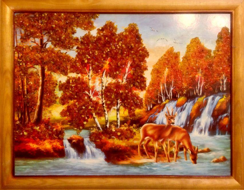 "Картина с янтарем "" Волшебная природа"""