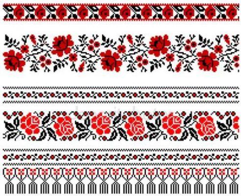 Вышивка горизонтальными полосами характерна для народных орнаментов