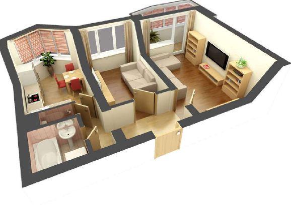 Линейная планировка двухкомнатной квартиры