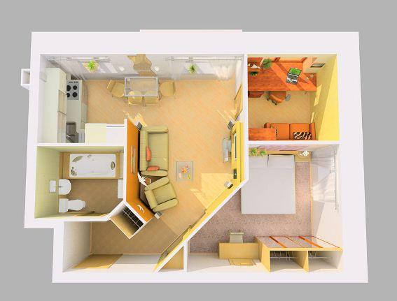 Двухкомнатная квартира торцевой планировки