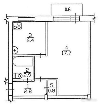 Планировка однокомнатной квартиры - хрущевки