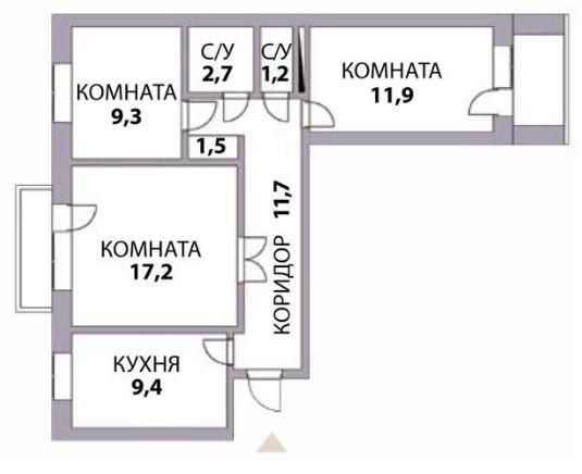 """План трехкомнатной квартиры - """" чешки"""""""