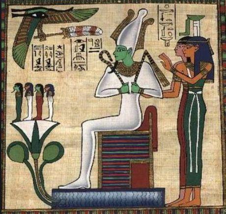 Лицо и тело бога Осириса изображали зеленым