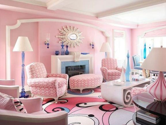 Интерьер гостиной в нежных розовых тонах