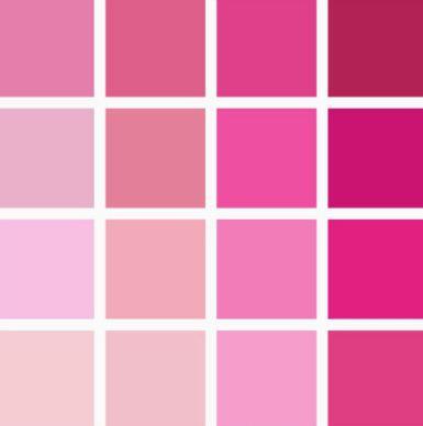 несколько оттенков розового цвета
