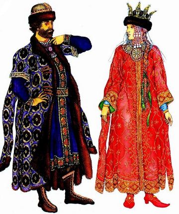 Костюмы князя и княгини в Древней Руси