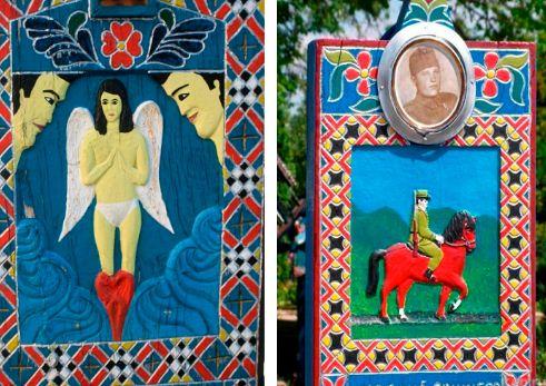 На деревянных надгробиях изображены причины смерти человека