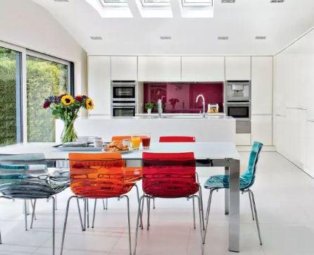 Белый стол и цветные стулья в интерьере кухни