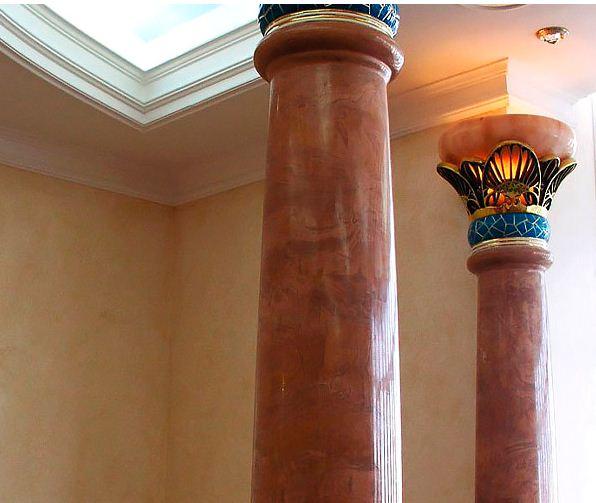 Облицовка колонн гибким мрамором