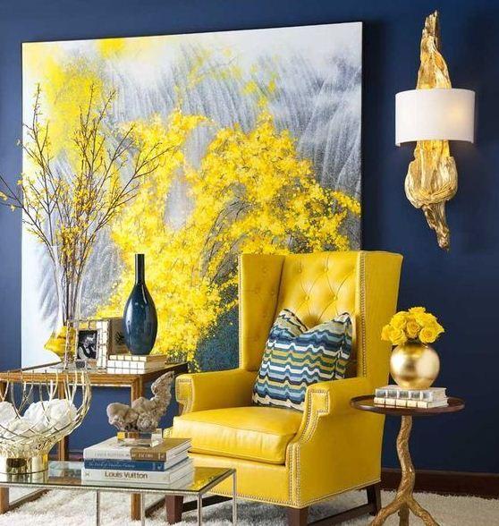 Изящное сочетание желтого и темного синего цветов
