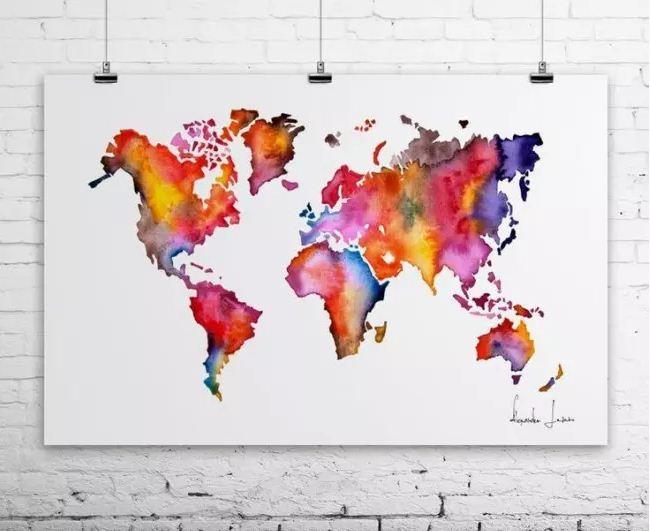 Стилизованное изображение карты мира на постере