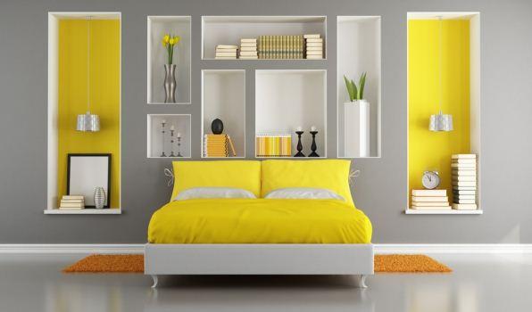 Яркий лимонный цвет в интерьере спальни