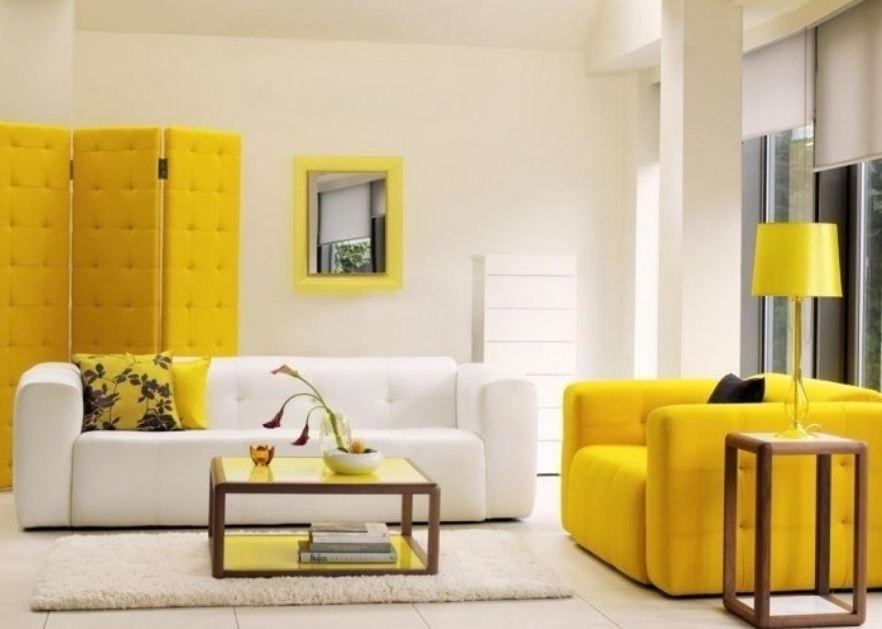 Мебель лимонного цвета в интерьере