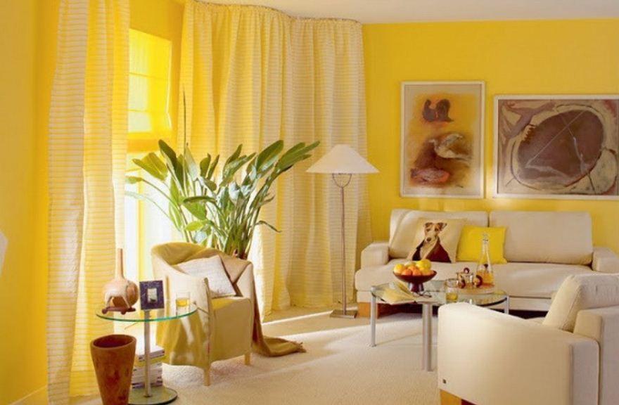 Лимонный оттенок прекрасно выглядит в качестве основного цвета