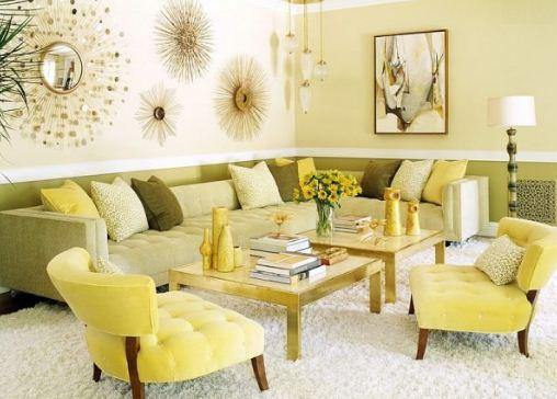 Лимонный цвет в интерьере хорош и в деталях