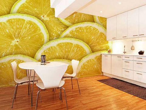 Интерьер кухни с лимонным принтом
