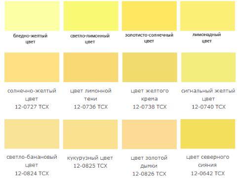 Оттенки светло - желтого цвета