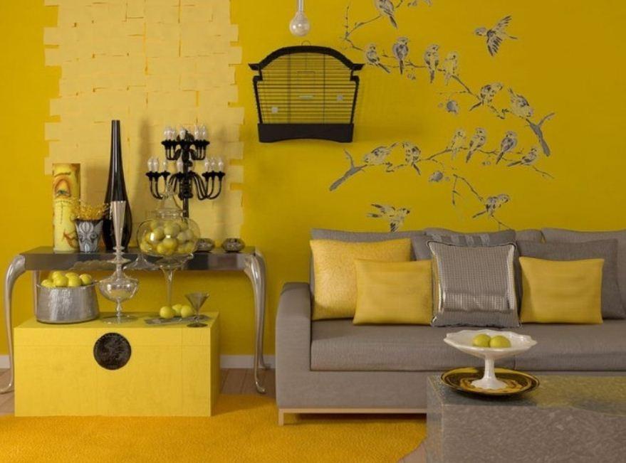 Комбинация цветов в оформлении гостиной