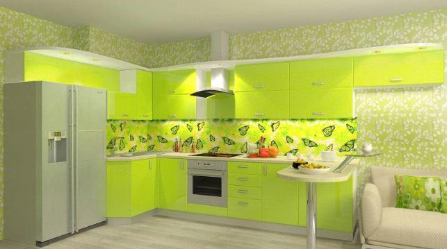 Зеленоватый лимонный оттенок в интерьере кухни