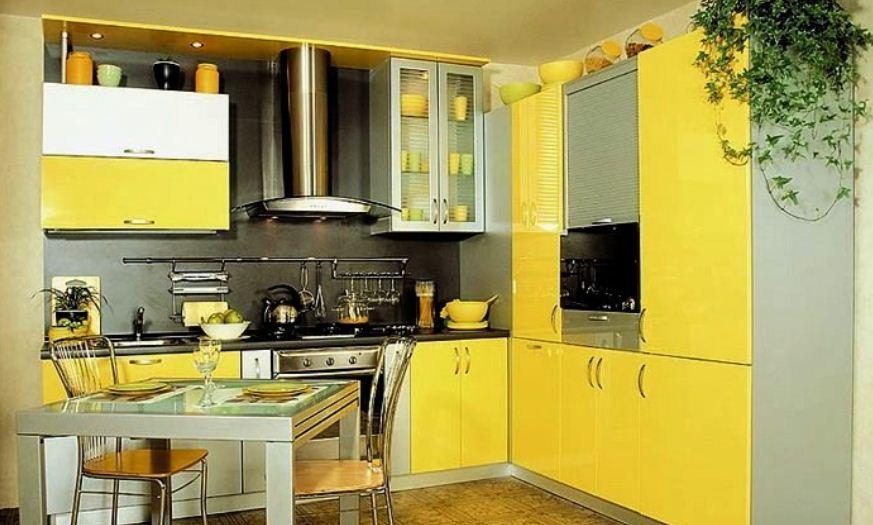 Кухонный гарнитур лимонного оттенка