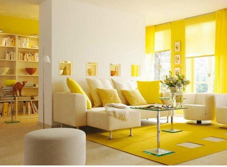 Гостиная в лимонных тонах
