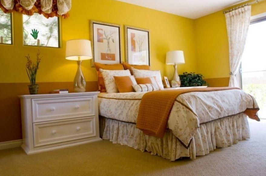Интерьер спальни в лимонно - желтых тонах