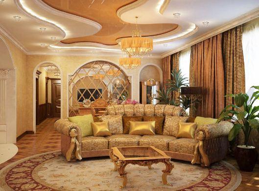 Роскошный интерьер в золотом цвете