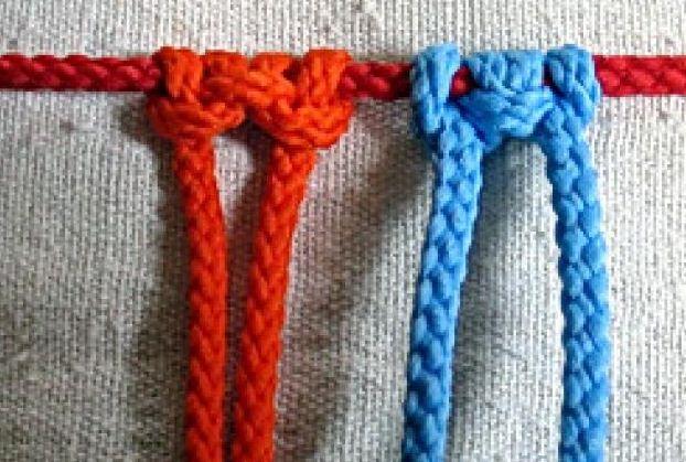 Третий способ закрепления накидных нитей на крепежном шнуре