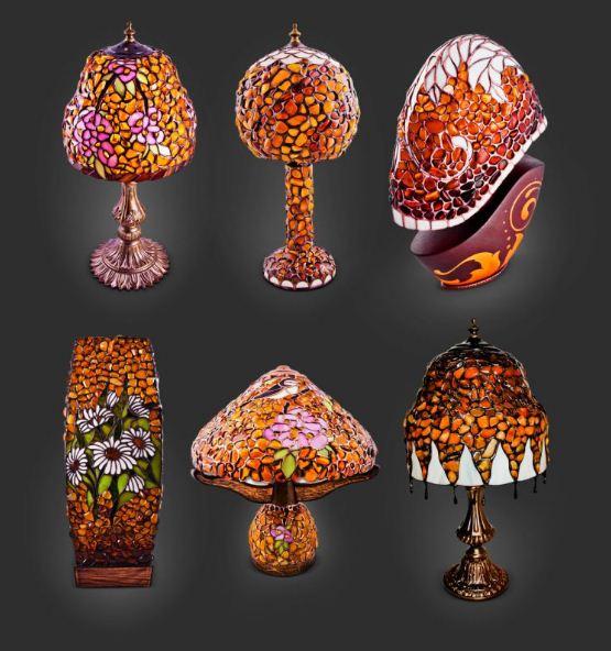 Настольные лампы из янтаря