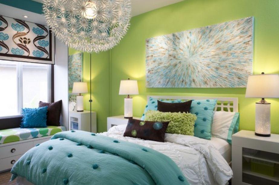 Цвет лайма в отделке спальни