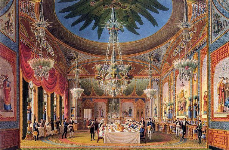 Банкетный зал Королевского павильона в Ьрайтоне, построенного в 1815 - 1822 годах в восточном стиле по проекту Джона Нэша.