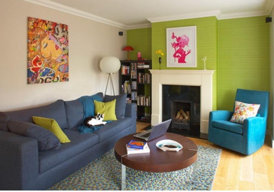 Цвет лайма в интерьере гостиной