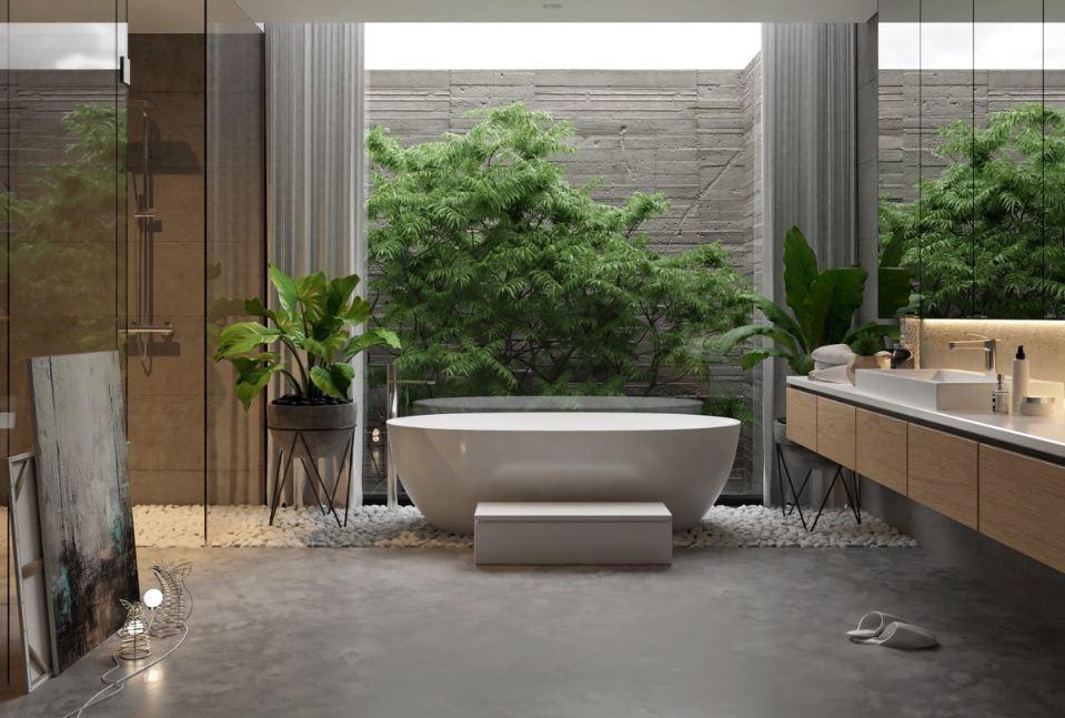 Ванная комната с зеркальной отделкой стен