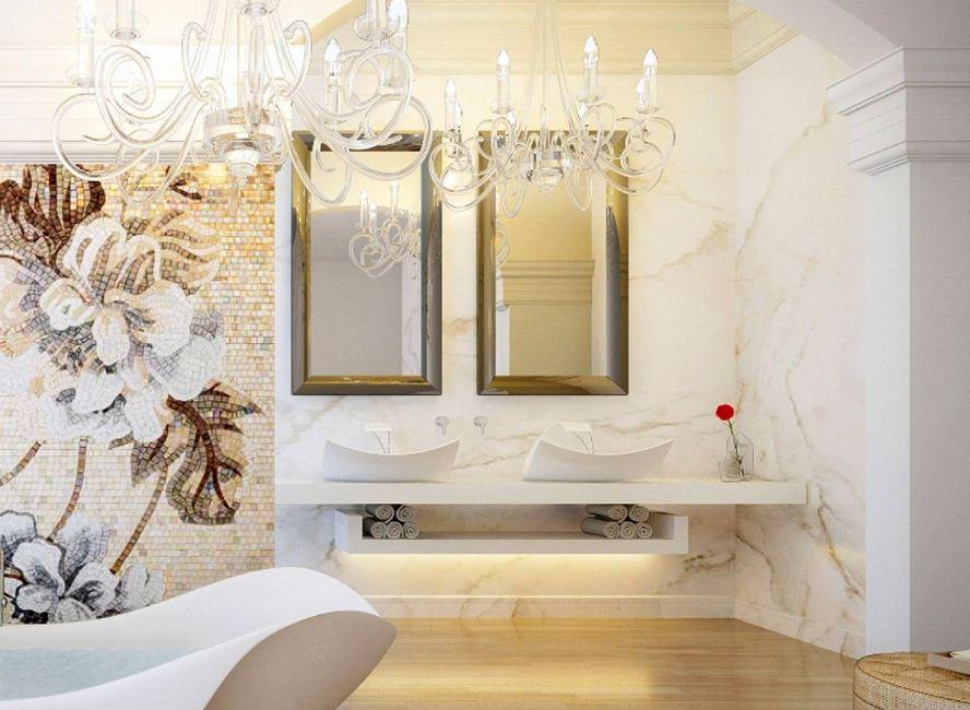 Мозаика на стене - роскошное оформление ванной