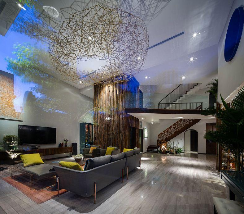 Глянцевые полы в гостиной