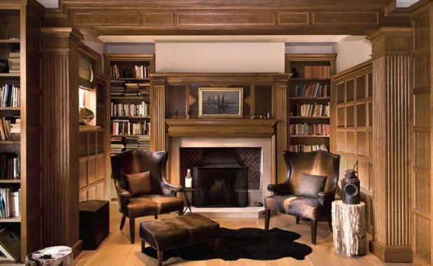 Каштановый цвет в интерьере домашней библиотеки