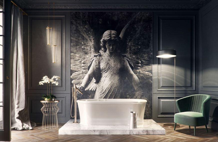 Художественная  роспись на стене в ванной