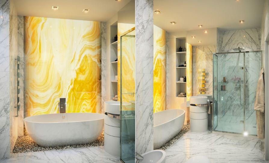 Для отделки стен использован мрамор ярких оттенков