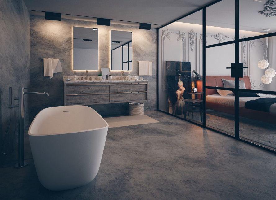 Бетон в качестве основного отделочного материала в ванной