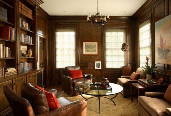 Освещение домашней библиотеки должно быть достаточно ярким, но не слишком интенсивным