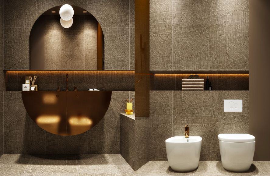 Утонченный дизайн скромной. но стильной ванной  комнаты