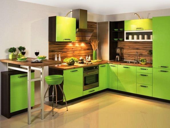 Кухонная мебель цвета лайма