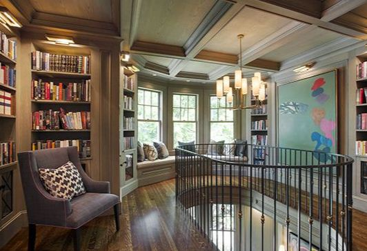 Домашняя библиотека в изысканном стиле