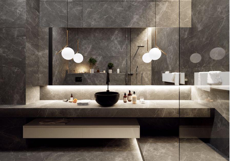 Мрамор в отделке ванной