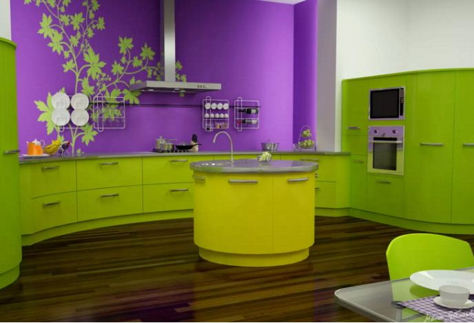 Дерзкая и сочная комбинация насыщенного оттенка лайма с фиолетовым.