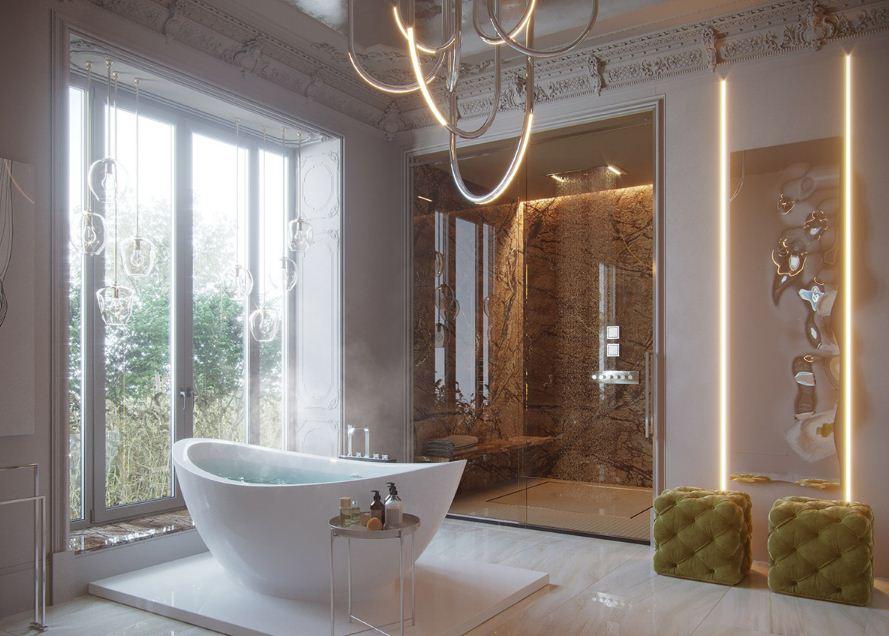 Удобный стеклянный столик рядом с ванной