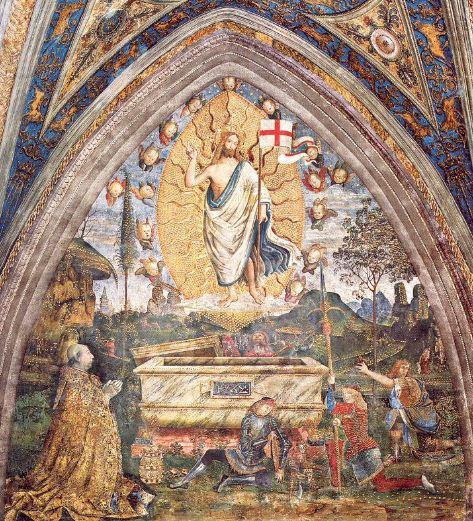 """Пинтуриккьо. """" Воскресение Христа"""" с коленопреклоненным папой Александром VI."""