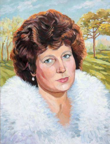 Ксения Черномор. Портрет женщины на фоне пейзажа. Холст, масло.